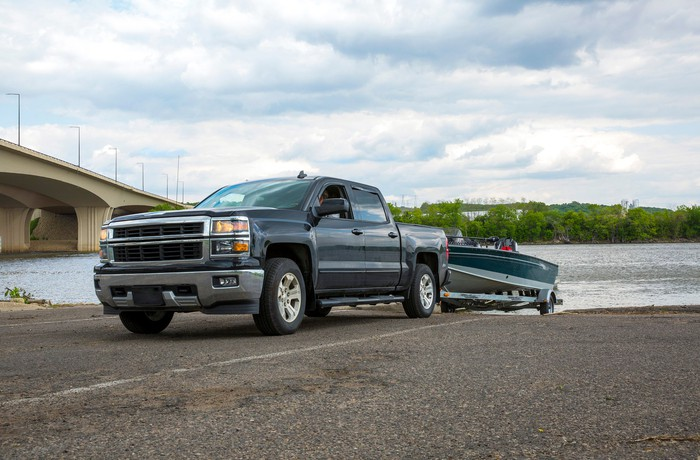 Truck hauling boat