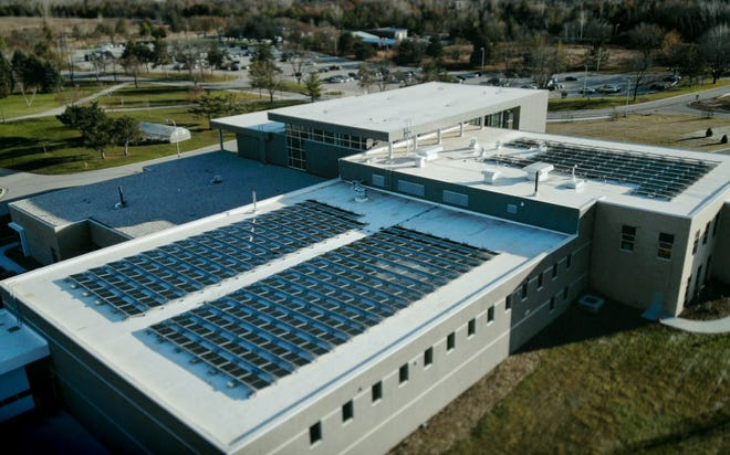 Solar panels on the roof of the  Brown County STEM Innovation Center building at the University of Wisconsin-Green Bay.