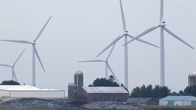 Turbines on a We Energies wind farm near Johnsburg in northeastern Fond du Lac County in 2014.