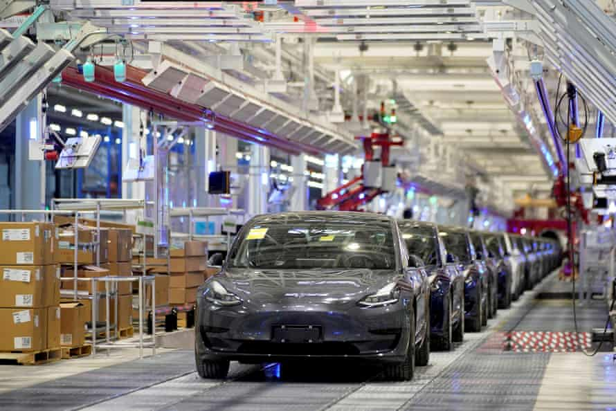 Teslas at the company's Shanghai factory