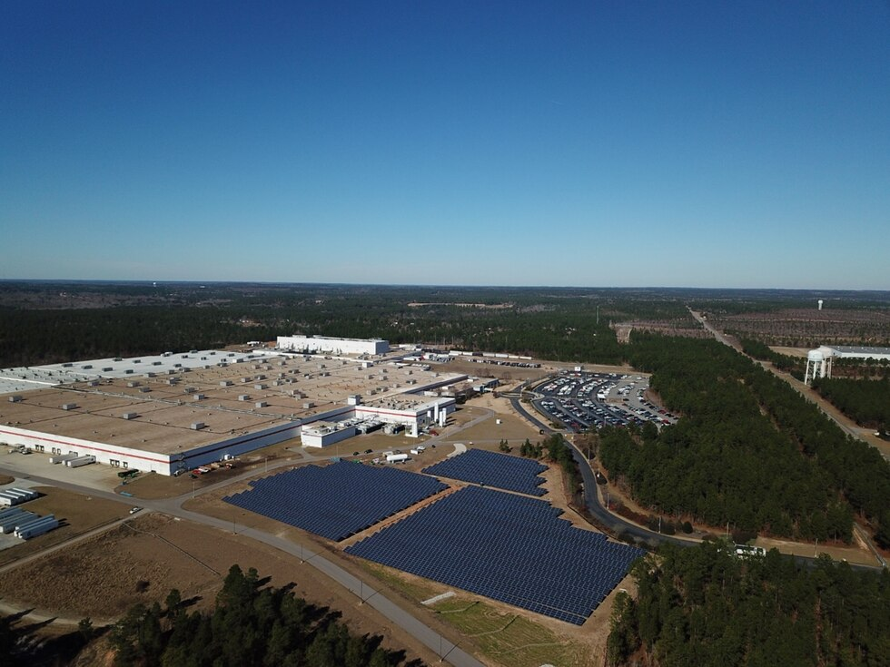 Bridgestone's first ground solar array providing power directly to the manufacturing process at...