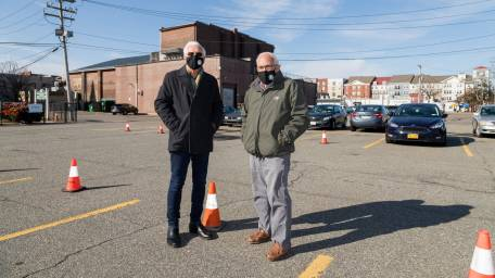 Village of Patchogue Mayor Paul Pontieri, right, and