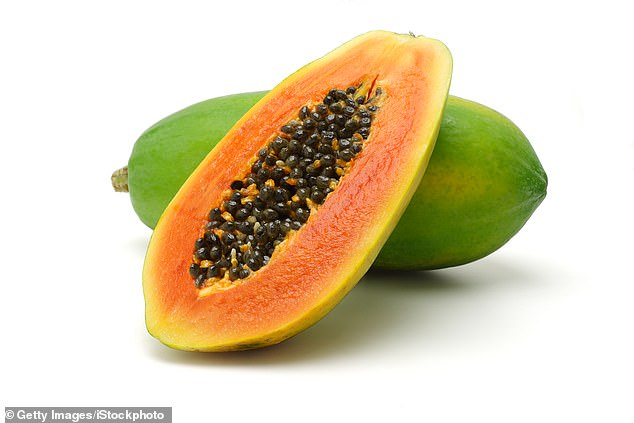 Amongst her top foods to improve skin, Karen also suggested smoothing wrinkles by making a papaya drink bywhizzing up a papaya (above) with flax seed oil, water and ice cubes