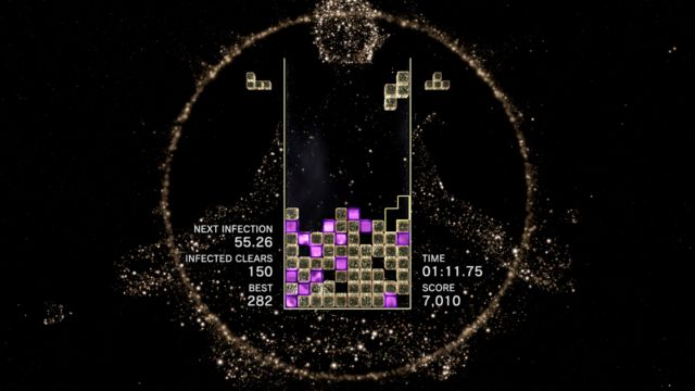 One of the many modes available in<em>Tetris Effect</em>.