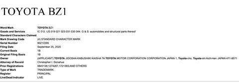 toyota bz trademark application