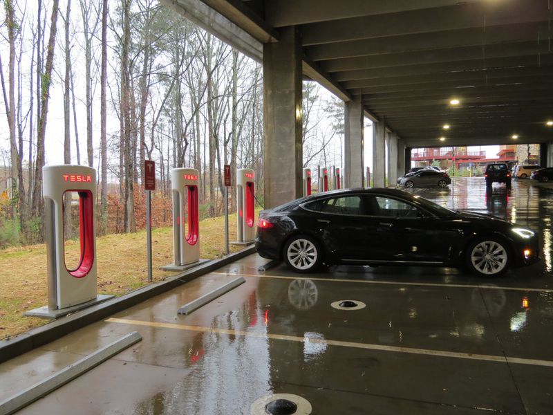 Peachtree Corners has worked together with Hubject to install a state-of-the-art electric vehicle fast-charging plaza capable of charging up to 16 vehicles simultaneously at Peachtree Corners Town Center.  (Courtesy City of Peachtree Corners)