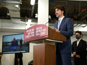 Prime Minister Justin Trudeau speaks during a news conference at the Ford Connectivity and Innovation Centre in Ottawa.
