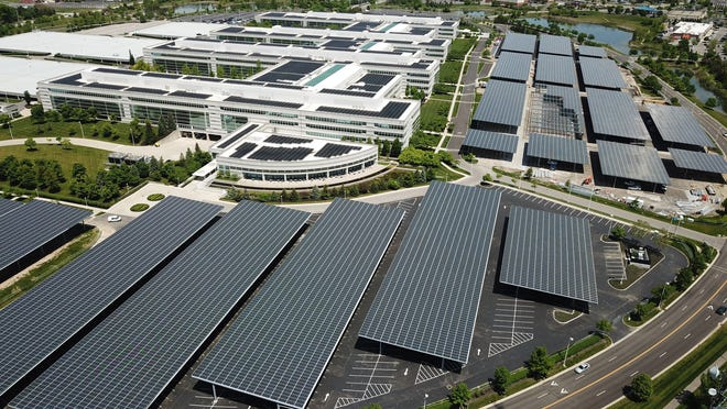 Work is almost complete on the JPMorgan Chase covering the massive parking lot with solar panels while also creating covered parking for workers.