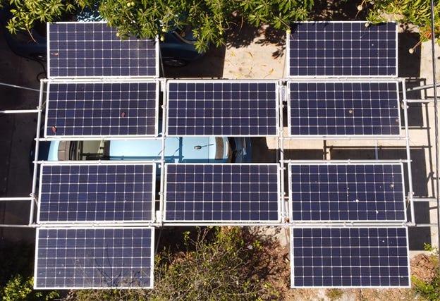 GismoPower solar carport at the Ginsberg-Klemmt residence.