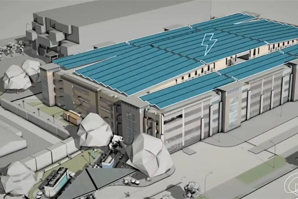 Solar panels on a parking garage at the University of B.C. will be used to separate water into oxygen and hydrogen, the latter captured to supply a vehicle filling station. (UBC video)