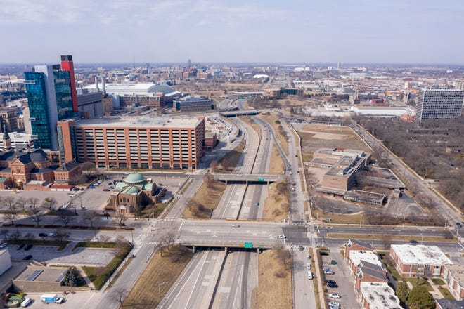 An aerial photo of Interstate-375 and what used to be the Black Bottom neighborhood of Detroit on Monday, March 8, 2021.