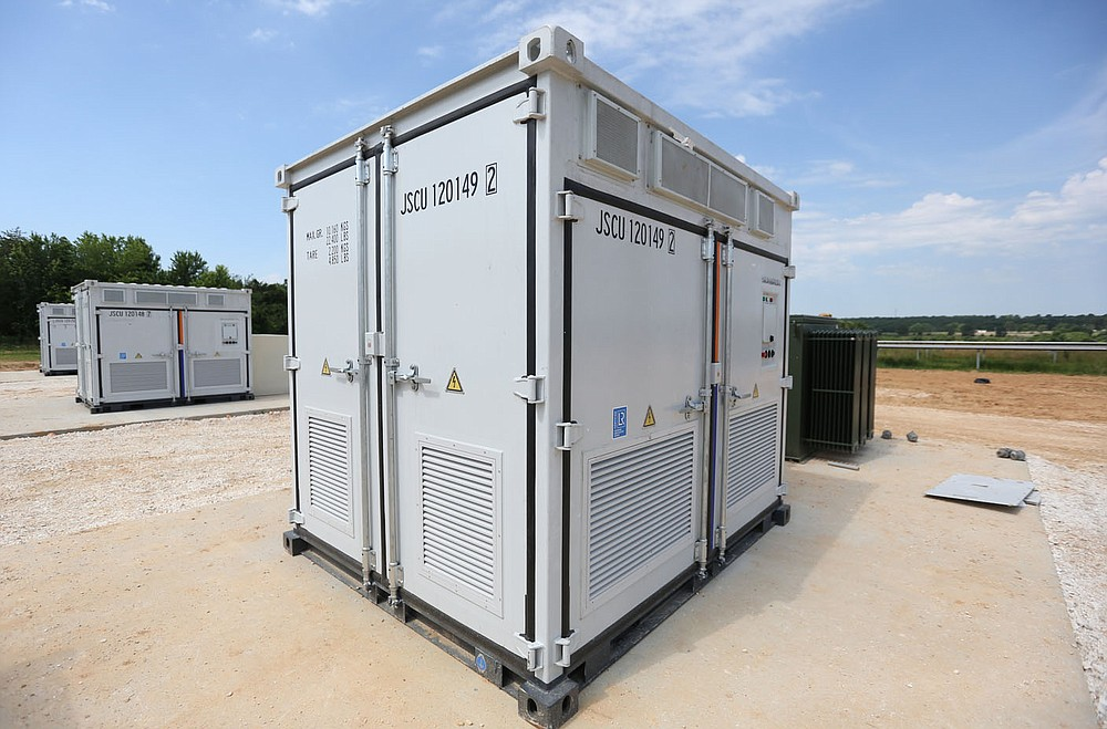One of the new control boxes for the battery storage units Wednesday, June 15, 2021, at the new Solar Park being built by Ozark Electric Cooperative and Today's Power Inc. near Lincoln. The 25 acre park will service five entities with 2.7 megawatts of solar panels. Check out nwaonline.com/210620Daily/ and nwadg.com/photos for a photo gallery. (NWA Democrat-Gazette/David Gottschalk)