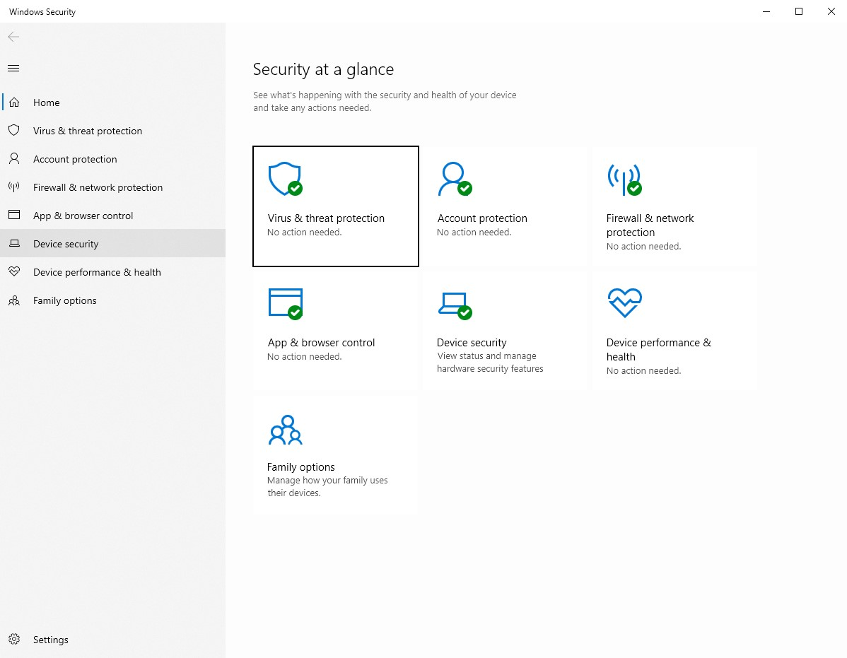 Device security window in Windows 10