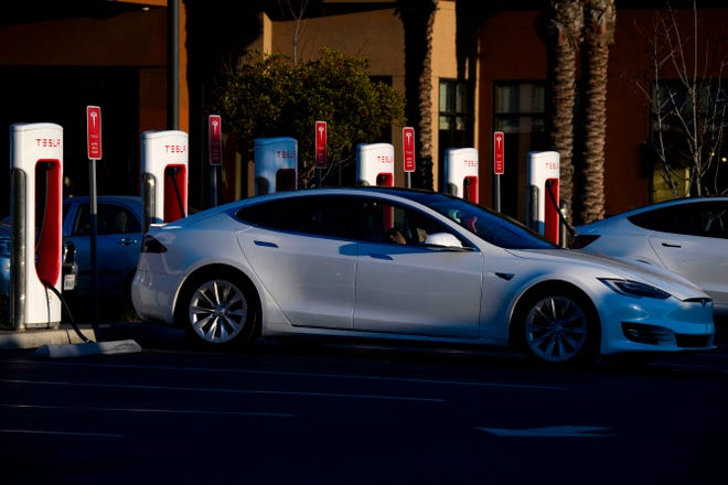Tesla Inc. electric vehicle at a supercharger station on January 4, 2021 in Redondo Beach, California.