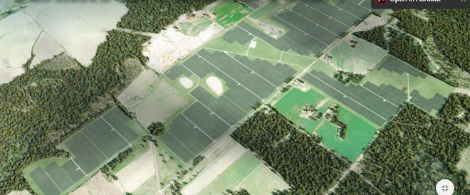 An artist's rendering shows how a solar power generation facility proposed for northern Walton County would look if constructed. Walton commissioners narrowly rejected issuance of a development order for the project, and the matter now is tied up in court.
