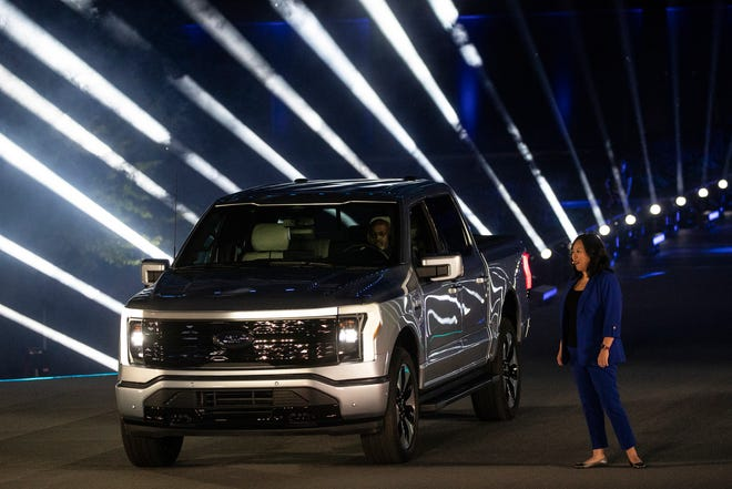 Linda Zhang, chief engineer of F-150 introduces the electric F-150 Lightning at Ford's world headquarters in Dearborn on May 19, 2021.