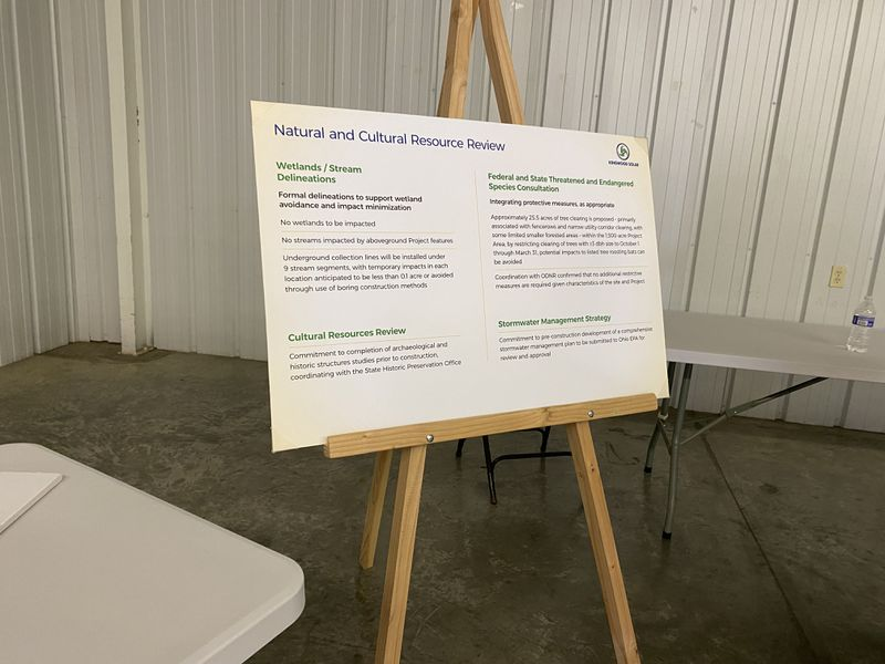 A photo of an easel with information on the natural and cultural resource review for the proposed solar farm in Greene County on Tuesday. Eileen McClory / Staff