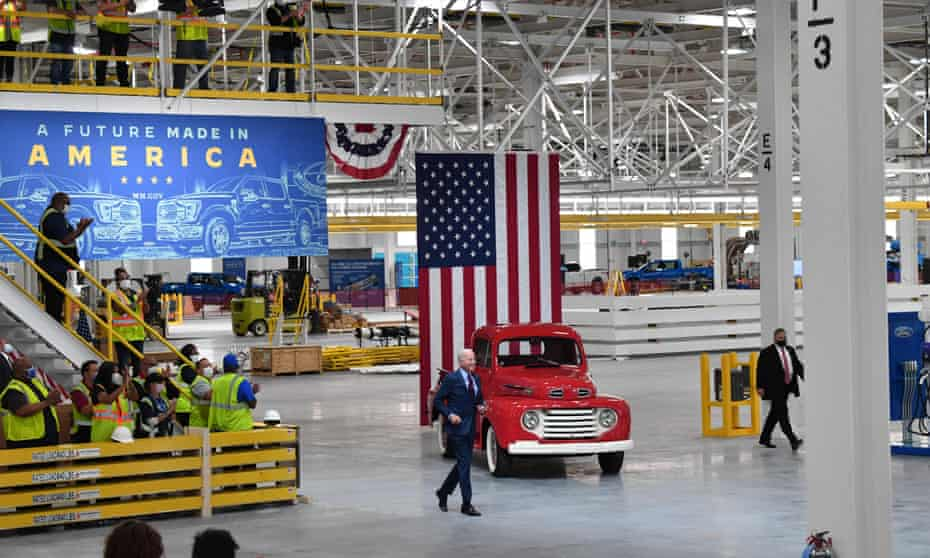 Biden at the Ford Rouge Electric Vehicle Center.