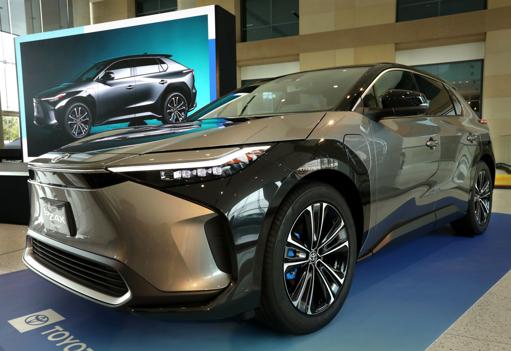 The new Toyota BZ4X concept vehicle photographed during a special press event at Toyota headquarters in Plano on Wednesday.