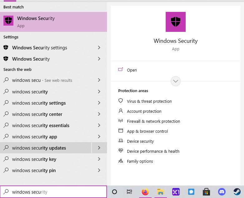 Windows Security search in Windows 10