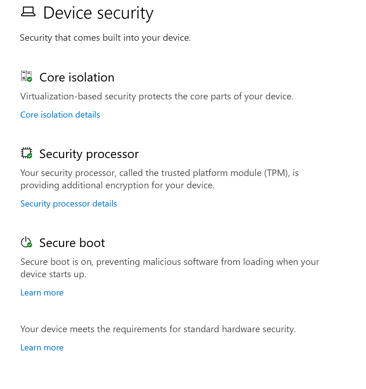 Windows 10 TPM search result