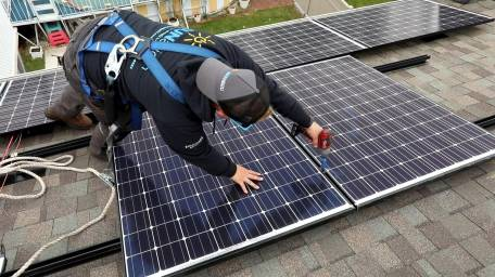 Solar panels are installed on the roof