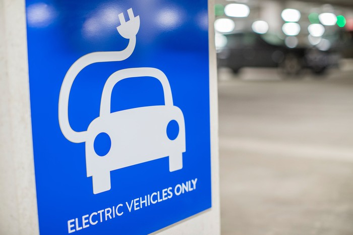 A blue sign with a car and an electric cord on it that reads electric vehicles only.