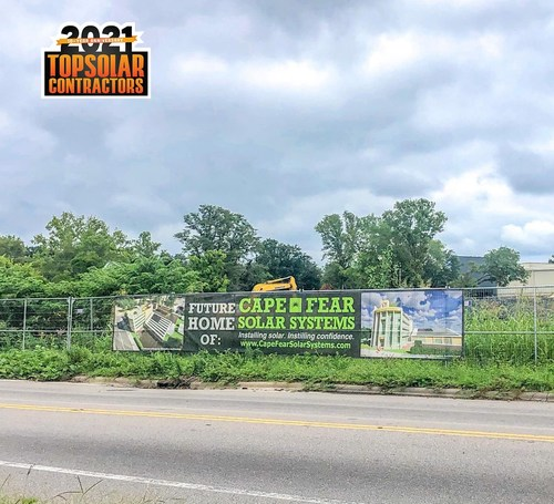 Cape Fear Solar Systems is currently constructing their future headquarters in downtown Wilmington. The local solar installation company is being recognized for the 9th year in a row by Solar Power World Magazine.