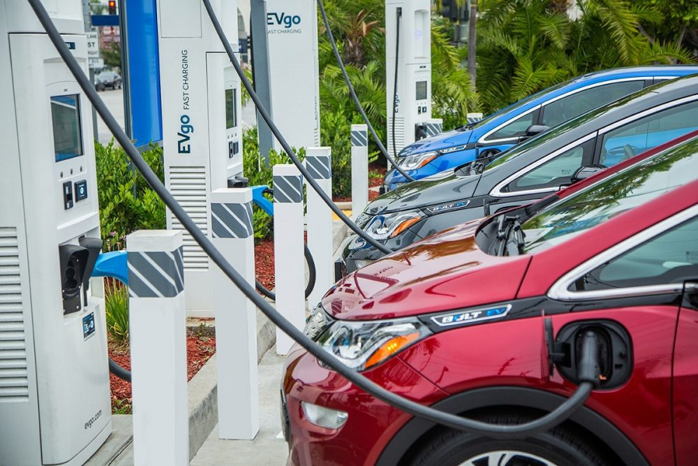GM EV charging stations - three vehicle lined up and getting charged