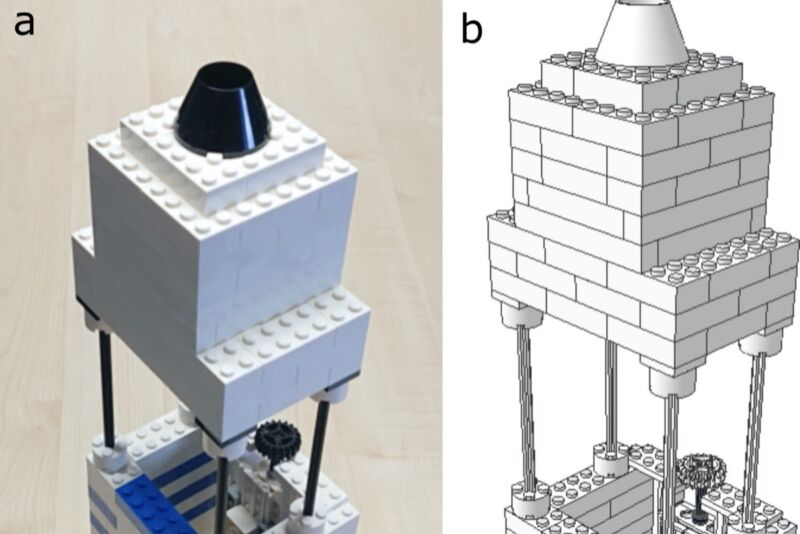 Photograph and schematic representation of the LEGO microscope built by scientists at Göttingen University.