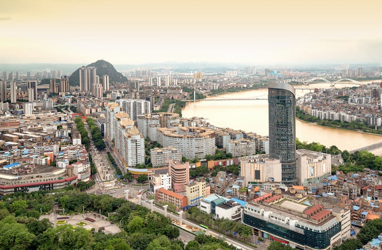 A panorama of a Chinese city.