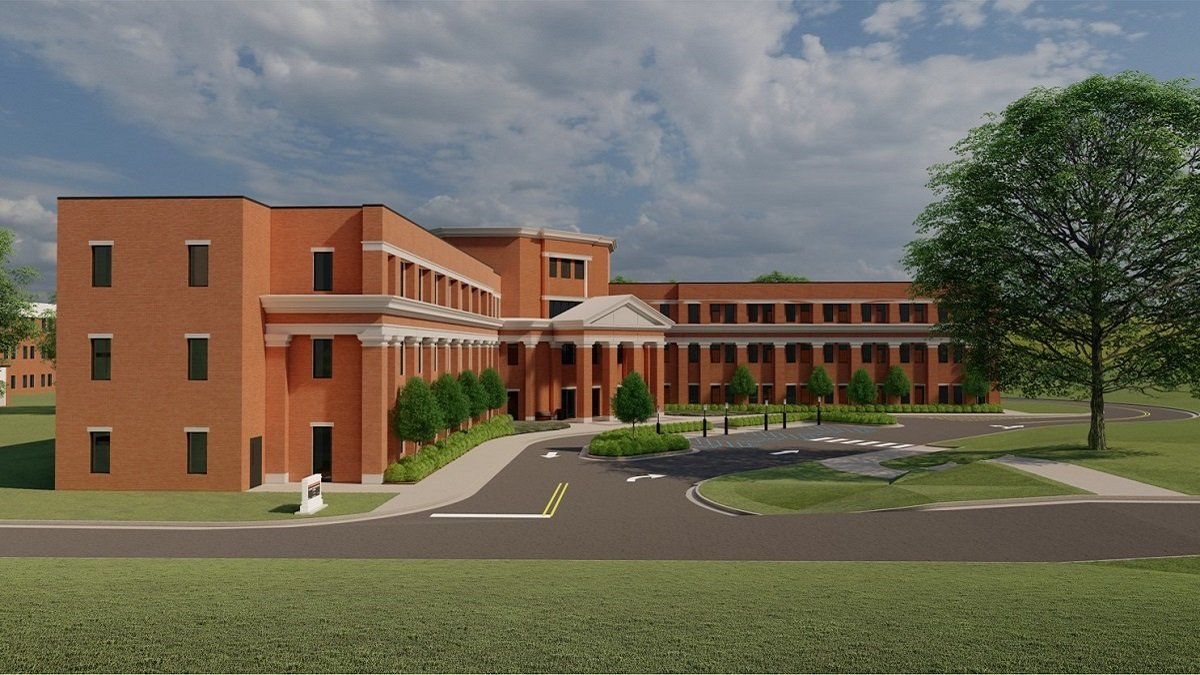 A rendering shows the planned Smart Communities and Innovation Building on the University of Alabama campus. The building will house the Alabama Mobility and Power (AMP) Initiative, designed to meet the needs of the booming electric vehicle market. The initiative grew out of a relationship among UA, Alabama Power and Mercedes-Benz U.S. International. (contributed)