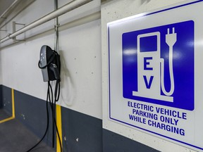 An electric vehicle charging station at the City of Calgary Civic Plaza Parkade.