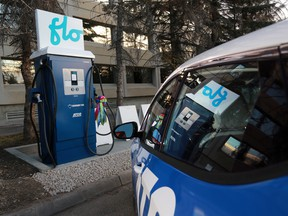 A FLO charging station in Calgary.