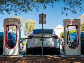 A Tesla charging station in California.