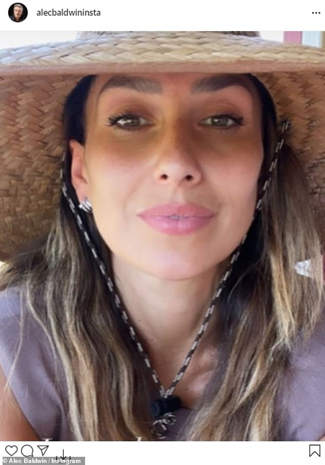 Happy husband: Alec Baldwin showed his love for his wife Hilaria by sharing one of her selfies to his Instagram account on Saturday