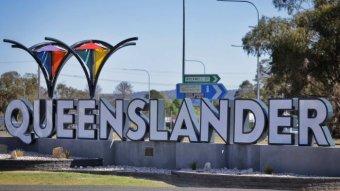 The Queenslander sign in the NSW-Queensland border town of Wallangarra in Queensland on October 8, 2020.