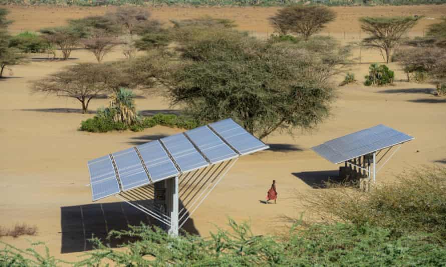 Water is pumped by solar-powered pump in Kenya